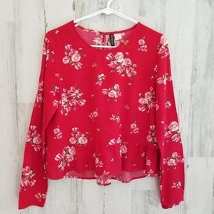 Divided Red Floral Top
